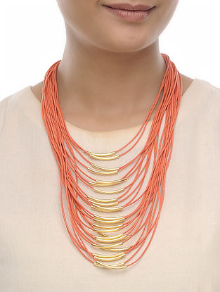 Orange Cotton Thread Necklace
