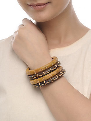 Brown-Beige Wood Bangles (Set of 4)