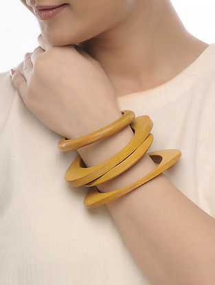 Yellow Wood Bangles (Set of 4)