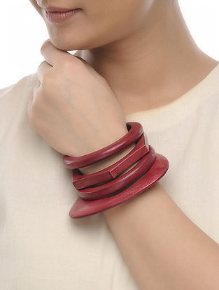 Pink Wood Bangles (Set of 4)