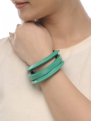 Teal Wood Bangles (Set of 3)