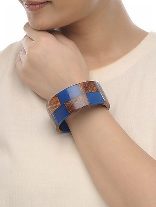 Blue-Brown Resin and Wood Bangle