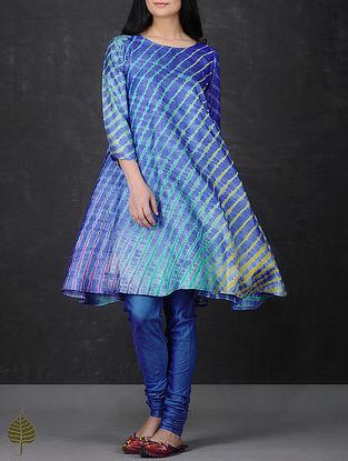 Blue-Green Leheriya Asymmetrical Hem Tussar Silk Kurta by Jaypore