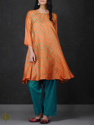 Orange-Green Asymmetrical Hem Tussar Silk Kurta by Jaypore