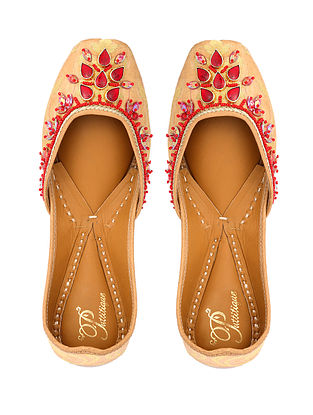 Gold-Red Handcrafted Brocade Silk and Leather Juttis With Stone Embellishments