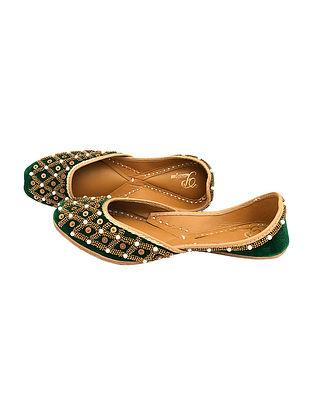 Green Handcrafted Velvet Juttis With Zardozi Work