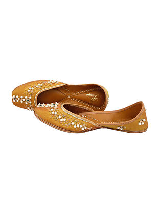 Gold Handcrafted Silk and Leather Juttis With Beads And Pearls