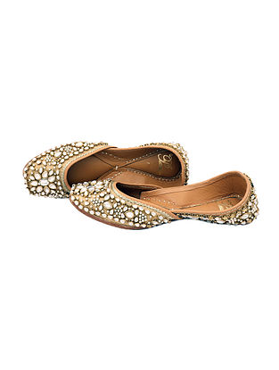 Golden Kundan and Pearl Embellished Silk Juttis
