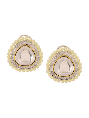 White Gold Plated Earrings with Pearls