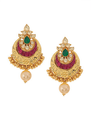 Pink-Green Gold Plated Earrings