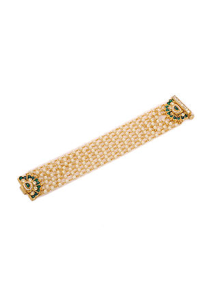 White-Green Gold Plated Bracelet
