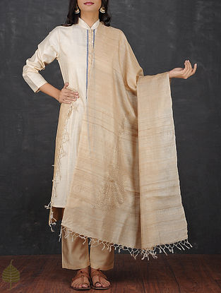 Beige Tussar Silk Dupatta with Mukaish by Jaypore