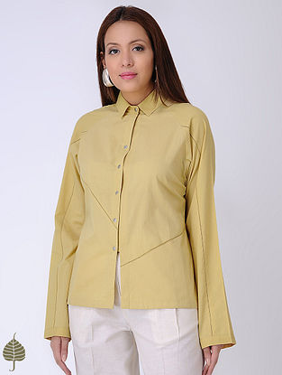 Yellow Natural-dyed Cotton Shirt by Jaypore