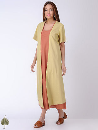 Yellow-Rust Natural-dyed Cotton Jacket with Dress by Jaypore (Set of 2)