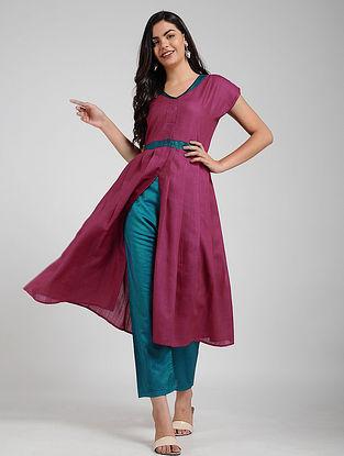 Pink Silk-Cotton Front-open Kurta