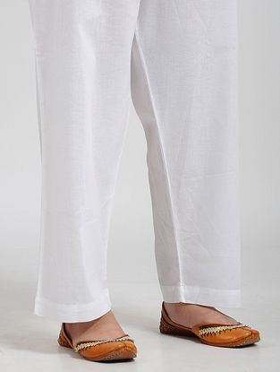 White Tie-up Waist Cotton Pant