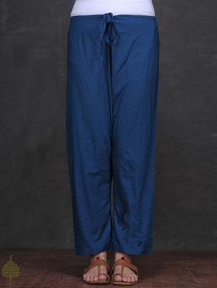 Blue Tie-up Waist Cotton Pants by Jaypore