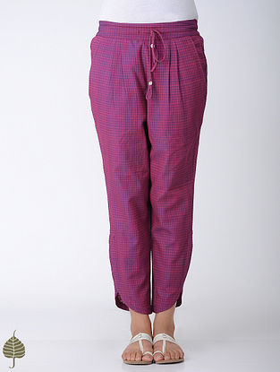 Pink-Blue Elasticated Tie-up Waist Handloom Cotton Pants by Jaypore
