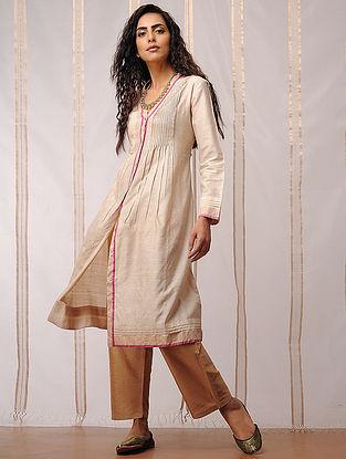 Beige Tie-Up Silk Cotton Pants by Jaypore