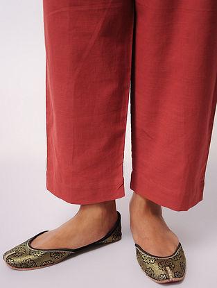 Rust Tie-up Waist Cotton Pants