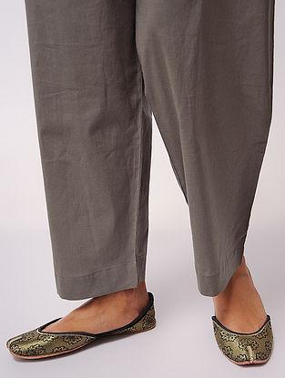 Grey Tie-up Waist Cotton Pants