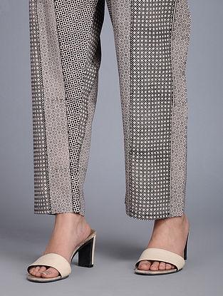 Black Tie-up Waist Bagh-printed Cotton Pants