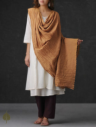 Brown Crinkled Cotton Dupatta by Jaypore