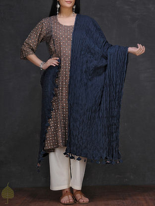 Navy Blue Crinkled Cotton Dupatta