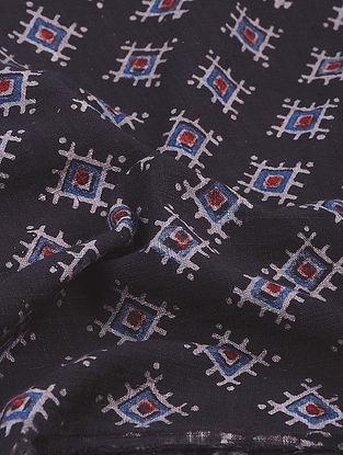 Black-Indigo Ajrakh-printed Natural Dyed Cotton Slub Fabric
