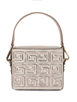 Golden Handcrafted Genuine Leather Handbag
