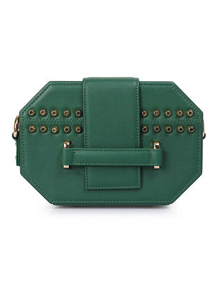 Green Octagon Shaped Handcrafted Genuine Leather Sling Bag