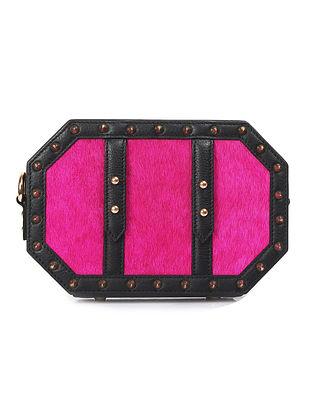 Pink Black Octagon Shaped Handcrafted Genuine Leather Sling Bag