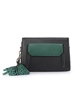 Black Green Handcrafted Genuine Leather Waist Bag