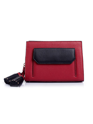 Red Black Handcrafted Genuine Leather Waist Bag