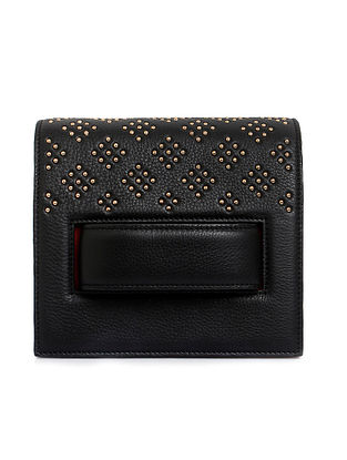Black Studded Handcrafted Genuine Leather Clutch Bag