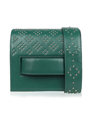 Green Studded Handcrafted Genuine Leather Clutch Bag