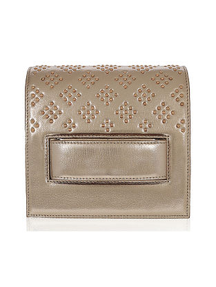 Dull Gold Studded Handcrafted Genuine Leather Clutch Bag