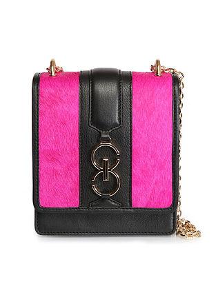 Pink Black Handcrafted Genuine Leather Sling Bag