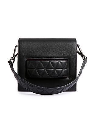 Black Handcrafted Genuine Leather Shoulder Bag