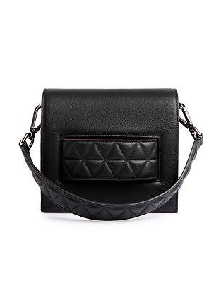 Black Handcrafted Genuine Leather Shoulder Bag