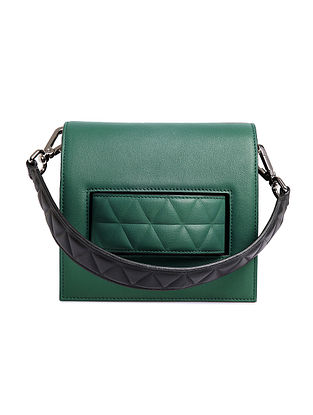 Green Handcrafted Genuine Leather Shoulder Bag