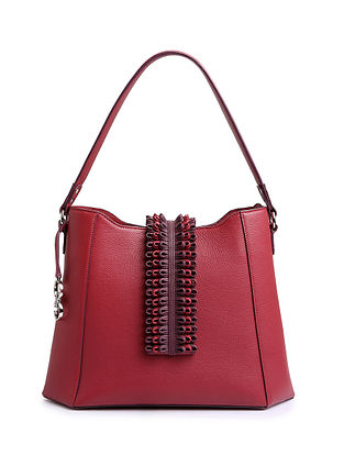 Red Handcrafted Genuine Leather Tote Bag
