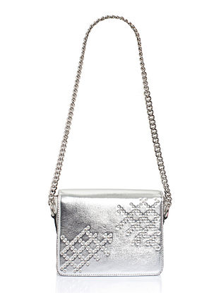 Silver Genuine Leather Sling Bag