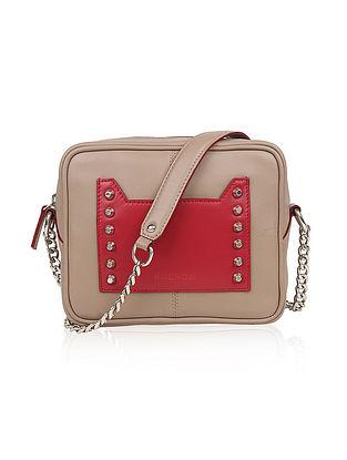 Grey Red Genuine Leather Sling Bag
