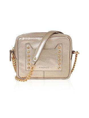 Golden Genuine Leather Sling Bag