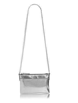 Silver Genuine Leather Sling Bag