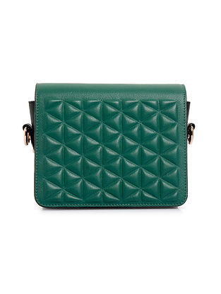 Green Black Genuine Leather Sling Bag
