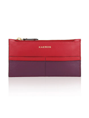 Red Purple Genuine Leather Wallet