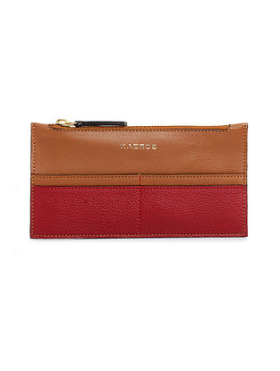Tan Red Genuine Leather Wallet