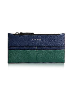 Navy Green Genuine Leather Wallet